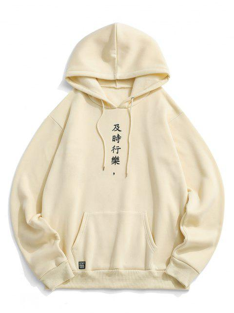 latest Chinese Character Print Flocking Drawstring Hoodie - LIGHT COFFEE XL Mobile