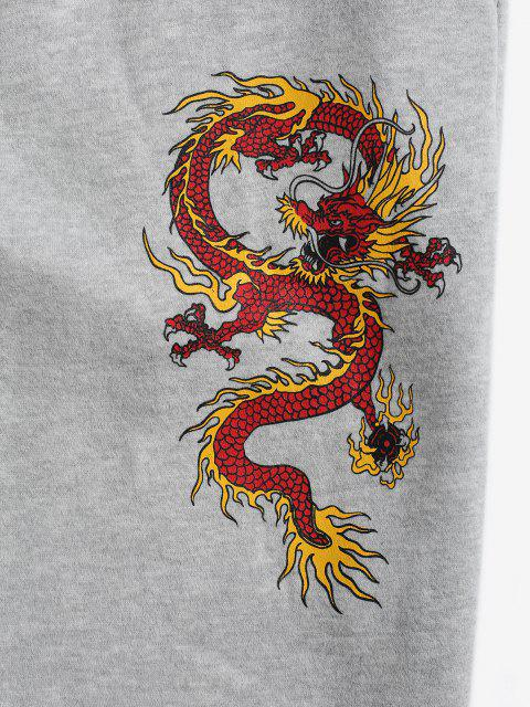 online Dragon Print Plush-lined Jogger Sweatpants - LIGHT GRAY 2XL Mobile