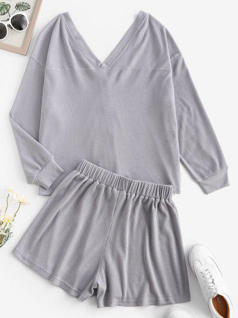 outfit ZAFUL Comfy Lounge Textured Button Up Two Piece Set - LIGHT GRAY M Mobile