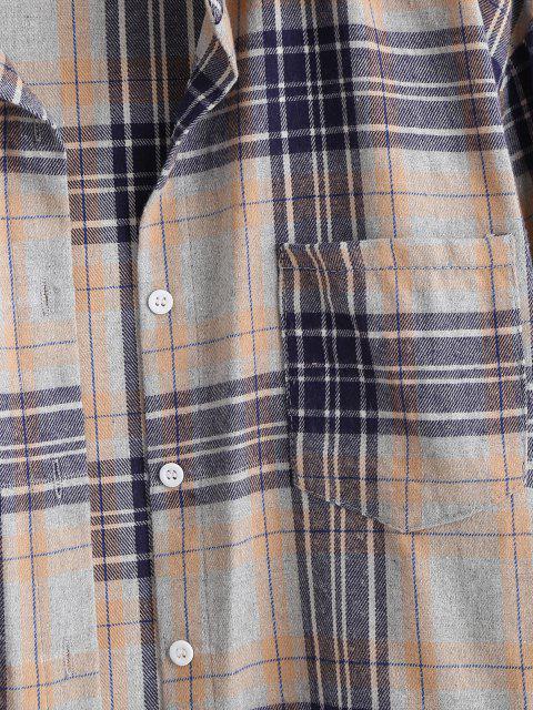affordable Plaid Pocket Boyfriend Shirt - ORANGE GOLD XS Mobile