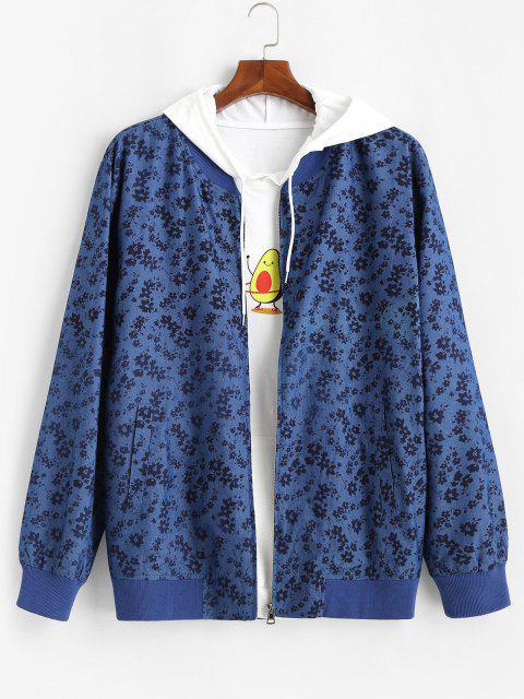 Veste avec Fermeture Éclair à Imprimé Floral - Bleu XL Mobile