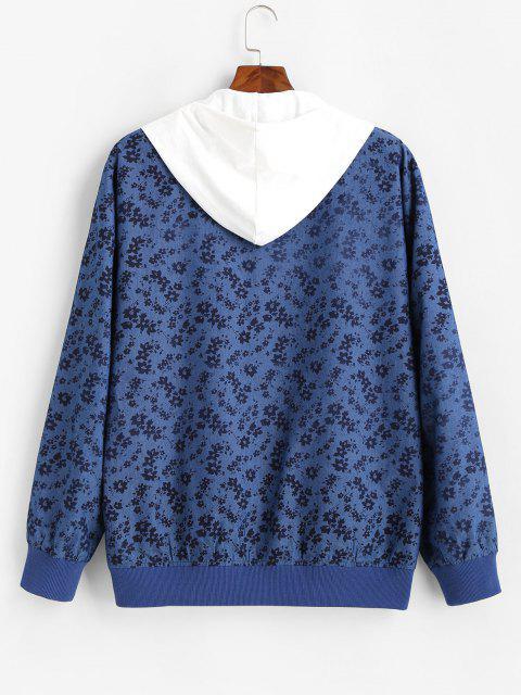fashion Floral Allover Print Zip Up Jacket - BLUE S Mobile