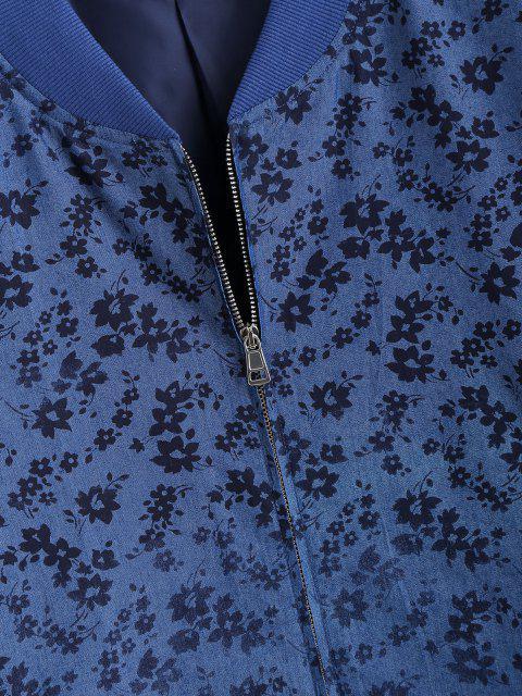 Veste avec Fermeture Éclair à Imprimé Floral - Bleu 2XL Mobile