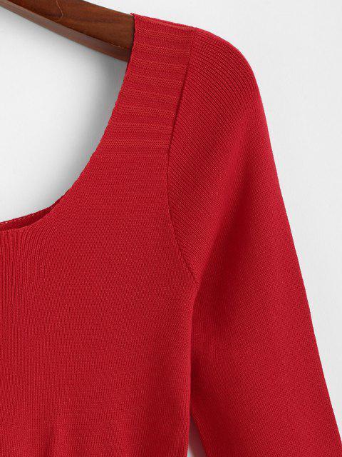 Falschen Knöpfe Schößchen Scoop Kragen Sweatshirt - Rot Eine Größe Mobile