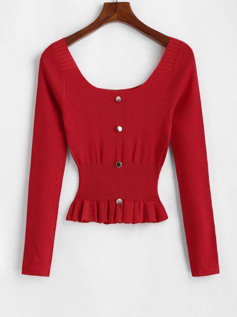 Camisola Peplum de Decote Mock Pescoço da Colher - Vermelho Um Tamanho Mobile