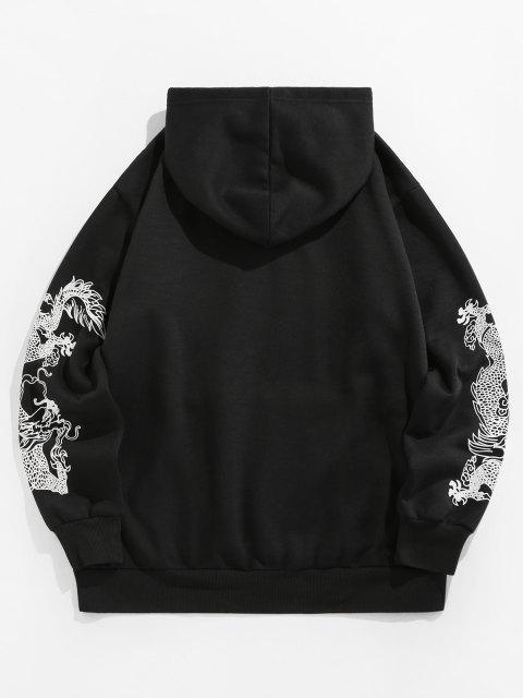 fashion ZAFUL Dragon Fleece Lined Hoodie - BLACK 2XL Mobile