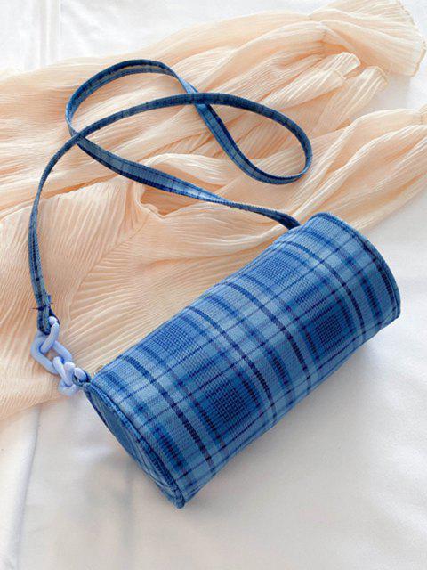 Retro Plaid Print Crossbody Bag - السماء الزرقاء  Mobile