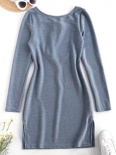 latest Metallic Thread Open Back Tie Bodycon Glitter Dress - LIGHT BLUE L Mobile