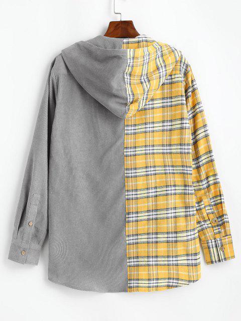 Veste à Capuche Jointif à Carreaux en Blocs de Couleurs - Jaune L Mobile