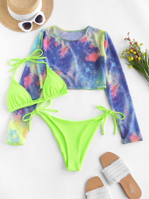 trendy ZAFUL Tie Dye Mesh Ribbed Three Piece String Bikini Swimwear - GREEN S Mobile