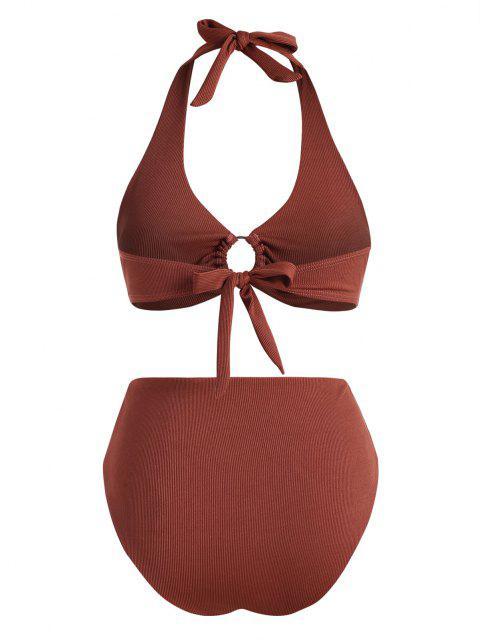 ZAFUL Übergröße Gerippte Ring Bikini Badebekleidung - Kaffee XL Mobile