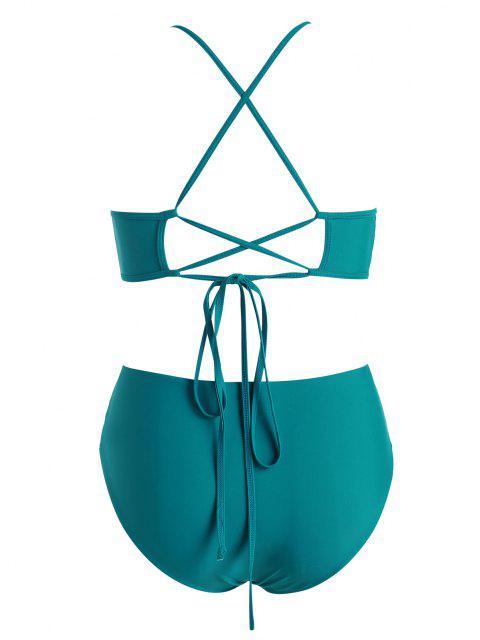 women's ZAFUL Plus Size High Neck Back Crisscross Lace-up Bikini Swimwear - DEEP GREEN XL Mobile