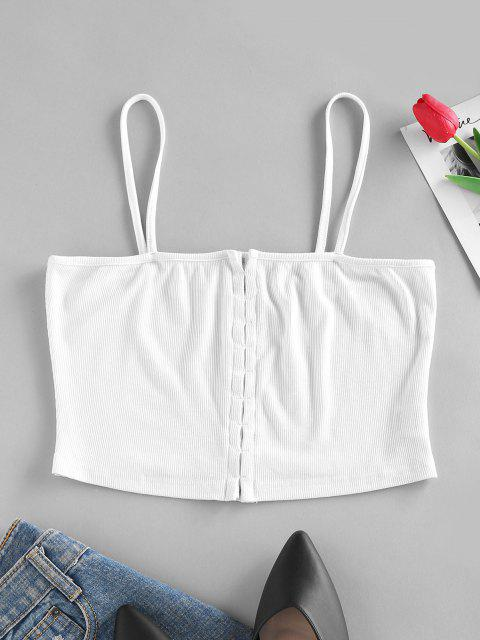unique ZAFUL Ribbed Hook Front Crop Camisole - WHITE L Mobile