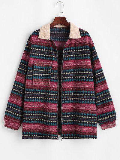 ZAFUL Flap Pockets Tribal Print Fleece Lined Jacket - Deep Red L