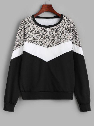 Colorblock Leopard Panel Sweatshirt - Black M