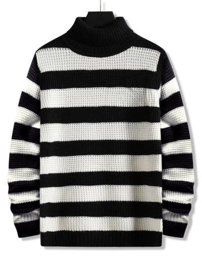 Turtleneck Striped Knit Sweater - Black L