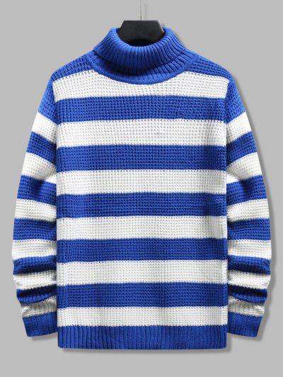 Turtleneck Striped Knit Sweater - Blue Xs
