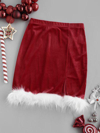 Christmas Faux Fur Insert Velvet Slit Skirt - Red Xs