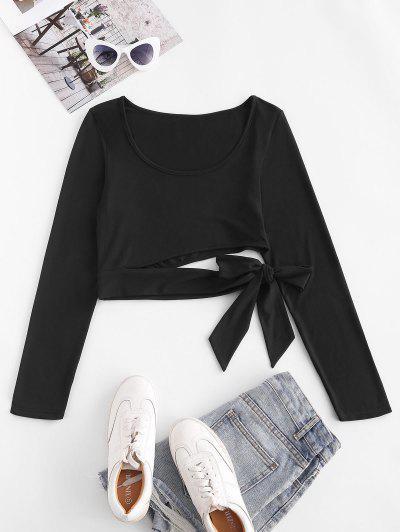 ZAFUL Cutout Tie Long Sleeve Crop Tee - Black L