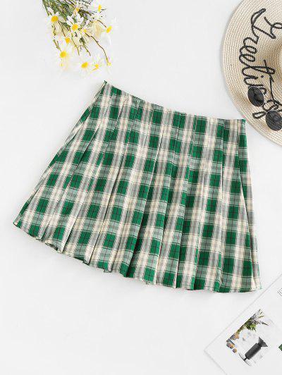 ZAFUL Plaid Mini Pleated Skirt - Deep Green M