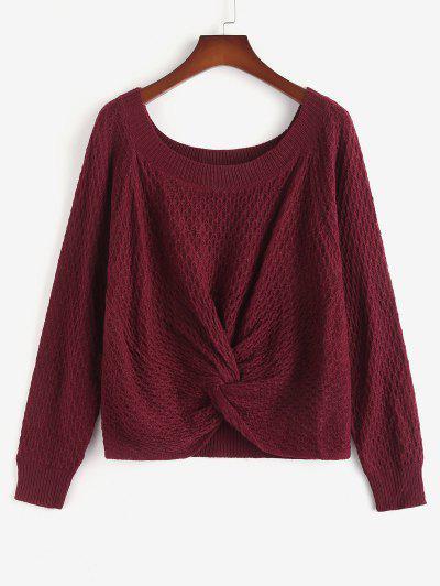 ZAFUL Plus Size Twist Front Raglan Sleeve Sweater - Deep Red Xl