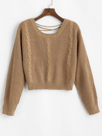 ZAFUL Lace Up Back Cable Knit Plus Size Sweater - Coffee 2xl