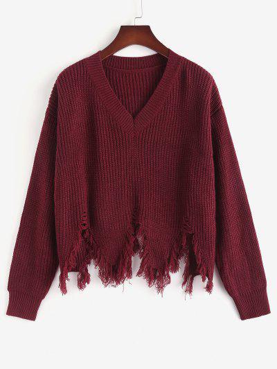 ZAFUL Plus Size V Neck Sharkbite-trim Sweater - Deep Red L