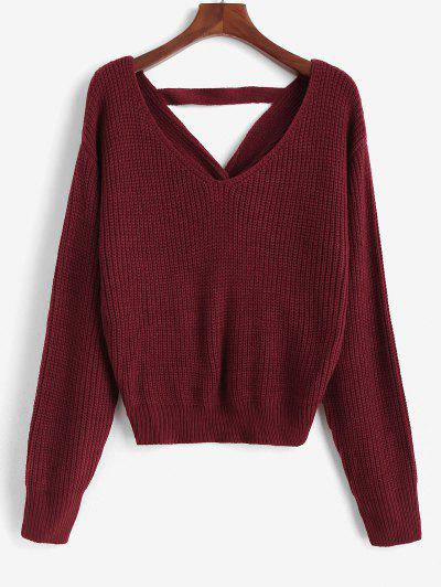 ZAFUL V Neck Faux Pearls Twisted Back Plus Size Sweater - Red 2xl