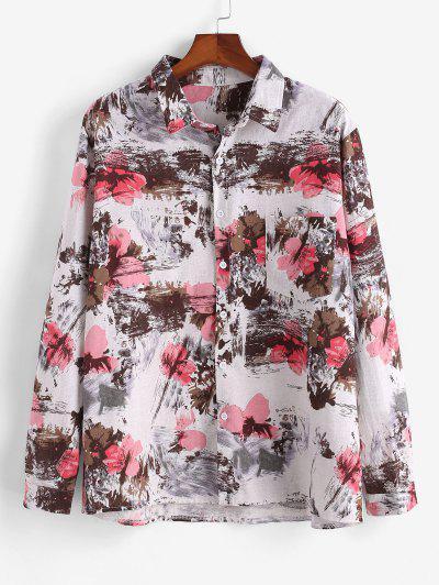 Camicia Tinta A Nodi Con Maniche Lunghe E Stampa D'Inchiostro - Multi Colori L
