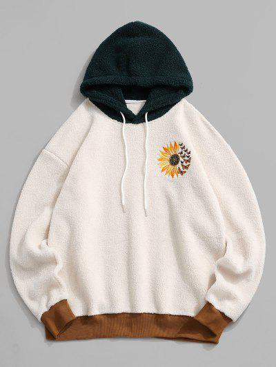 Flower Butterfly Embroidered Faux Shearling Hoodie - White L