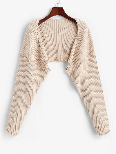Solid Ribbed Shrug Cardiagn - Light Coffee S
