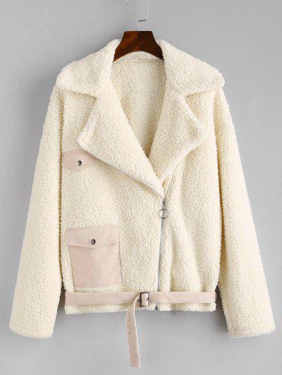 ZAFUL Faux Fur Suede Panel Teddy Coat - Warm White S