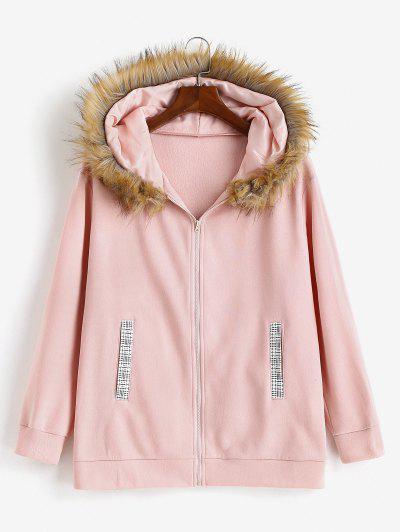 ZAFUL Zip Up Pockets Fur Collar Plus Size Hoodie - Light Pink Xl