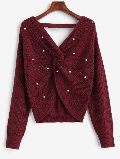 ZAFUL V Neck Faux Pearls Twisted Back Plus Size Sweater - Red L