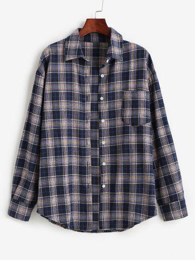 Plaid Pocket Boyfriend Shirt - Dark Slate Blue Xs