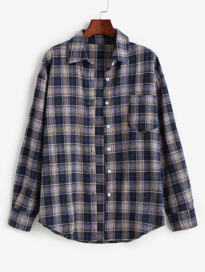 Plaid Pocket Boyfriend Shirt - Dark Slate Blue M