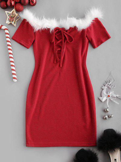 Christmas Faux Fur Insert Metallic Thread Lace Up Dress - Red M