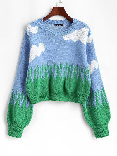 Crew Neck Lantern Sleeve Clouds Sweater - Blue M