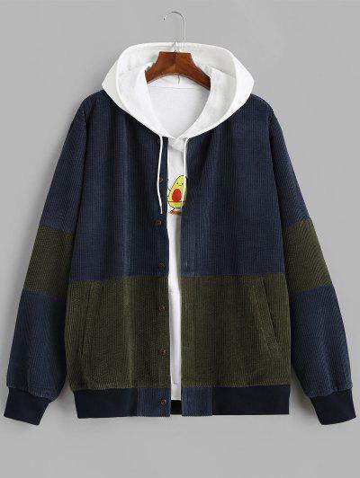 Button Up Contrast Corduroy Jacket - Deep Blue L