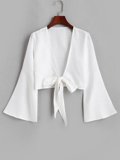 Tie Front Bell Sleeve Crop Cover-up - White M