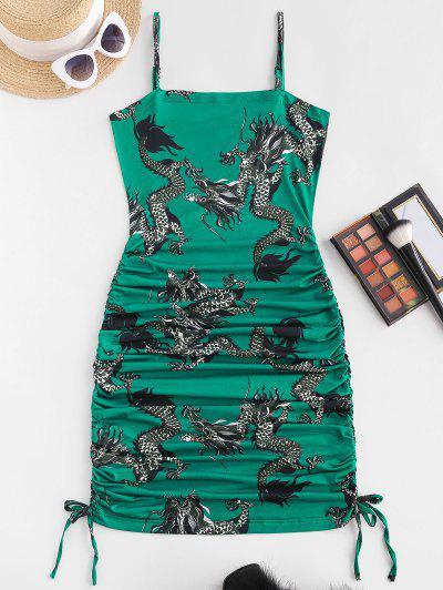 Oriental Dragon Print Ruched Bodycon Cami Dress - Deep Green M