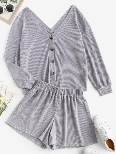 ZAFUL Comfy Lounge Textured Button Up Two Piece Set - Light Gray M
