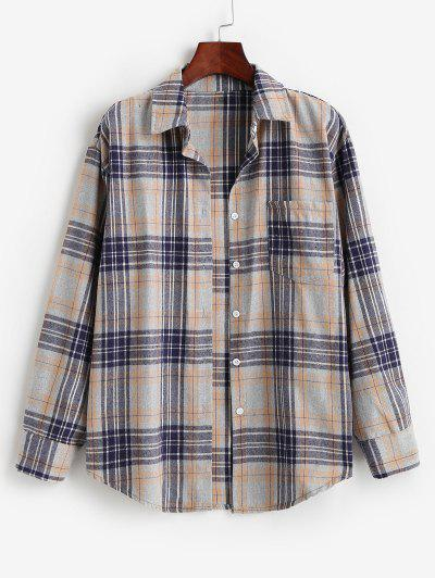 Plaid Pocket Boyfriend Shirt - Orange Gold M
