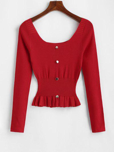 Mock Button Peplum Scoop Neck Sweater - Red