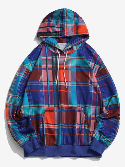 Colored Plaid Pattern Front Pocket Hoodie - Blue M