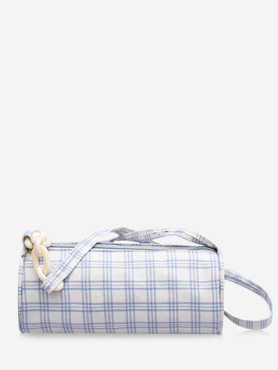 Retro Plaid Print Crossbody Bag - Milk White
