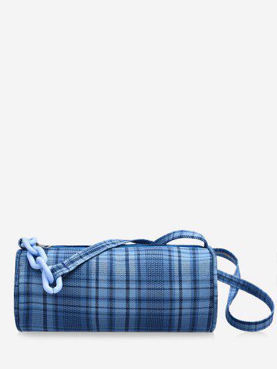 Retro Plaid Print Crossbody Bag - Sky Blue