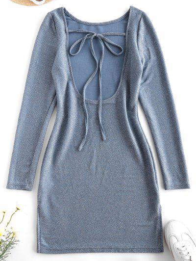 Metallic Thread Open Back Tie Bodycon Glitter Dress - Light Blue L