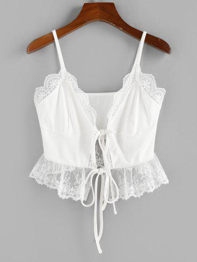 ZAFUL Lace Insert Tie Front Ribbed Camisole - White L