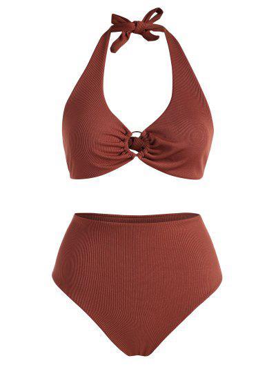 ZAFUL Plus Size Ribbed Halter Ring Bikini Swimwear - Coffee Xl